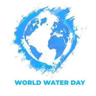 Akwarela niebieski światowy dzień wody