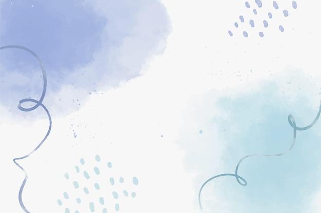 Akwarela niebieskie abstrakcyjne kształty tła