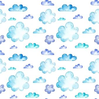 Akwarela niebieskie chmury bez szwu wzorów