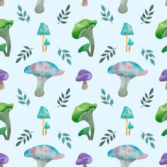 Akwarela niebieskie grzyby wzór