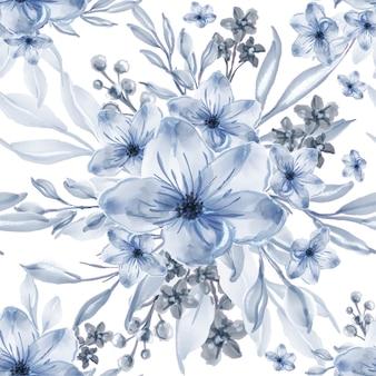 Akwarela niebieskie kwiaty