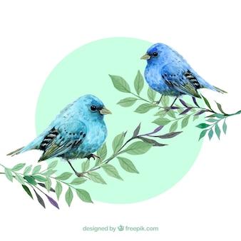 Akwarela niebieskie ptaki