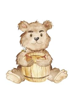 Akwarela niedźwiedź i beczka miodu clipart