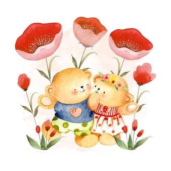 Akwarela niedźwiedź para z czerwonymi kwiatami