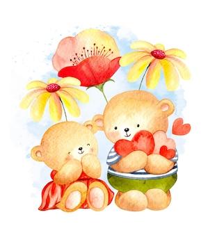 Akwarela niedźwiedzie z kwiatem