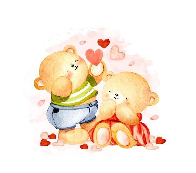 Akwarela niedźwiedzie z miłością