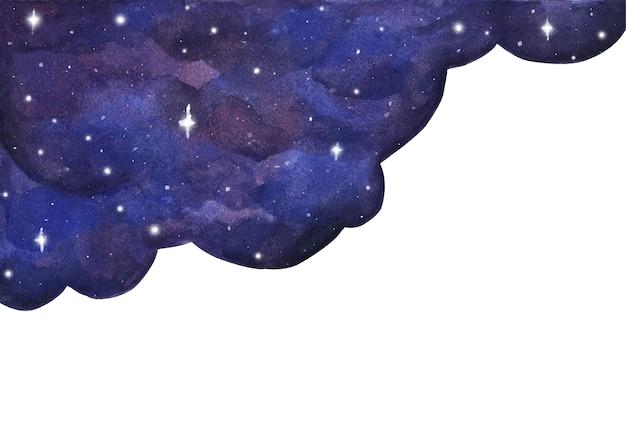 Akwarela nocne niebo na tle gwiazd. kosmiczny układ z miejscem na tekst.