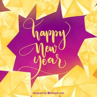 Akwarela nowego roku tło w kolorze żółtym i fuksja