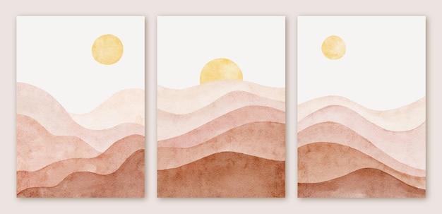 Akwarela nowoczesny abstrakcyjny krajobraz górski kształt tła zestaw