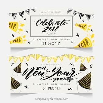 Akwarela nowy rok 2018 party banery z girlandami