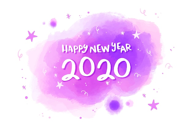 Akwarela nowy rok 2020 koncepcja tło