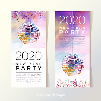 Akwarela nowy rok 2020 party banery z disco globe