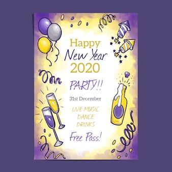 Akwarela nowy rok 2020 party plakat szablon