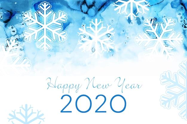 Akwarela nowy rok 2020 tło