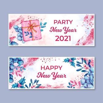 Akwarela nowy rok 2021 banery partii