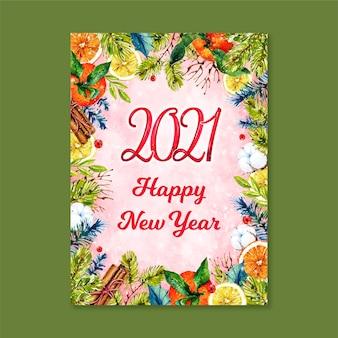 Akwarela nowy rok 2021 karta