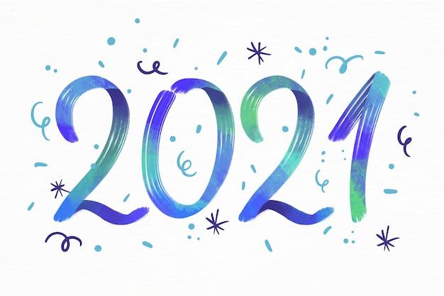 Akwarela nowy rok 2021 tło