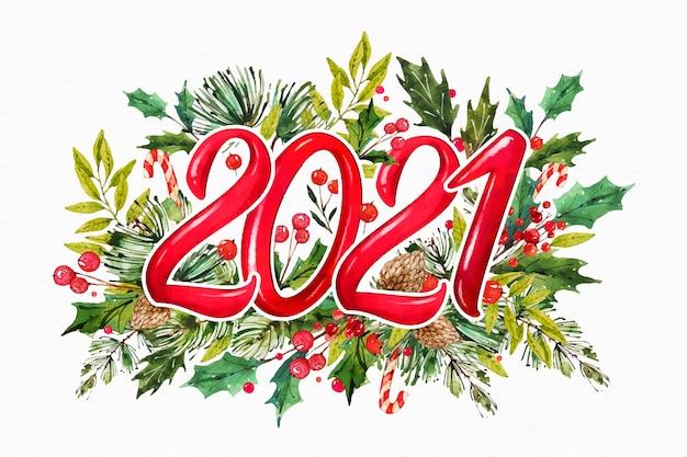 Akwarela nowy rok 2021 z jemiołą