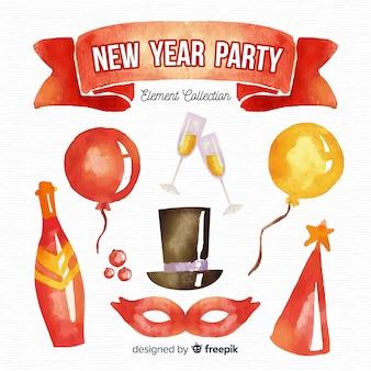 Akwarela nowy rok party element kolekcji