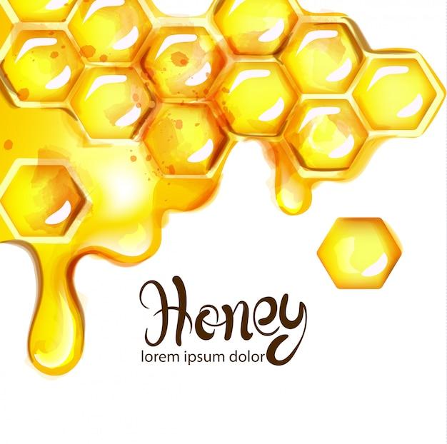 Akwarela o strukturze plastra miodu i pszczół
