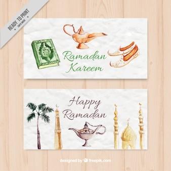 Akwarela obiektów ramadan a
