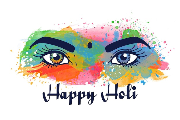 Akwarela oczy festiwalu holi z farbą