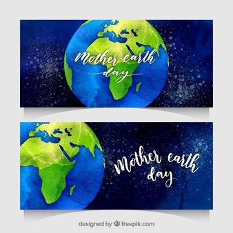 Akwarela odznaki matki ziemi dnia