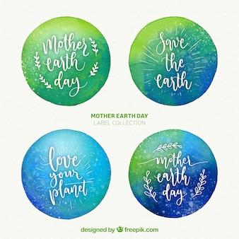 Akwarela odznaki na międzynarodowy dzień ziemi