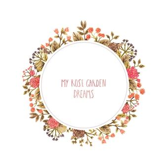 Akwarela okrągła rama z kwiatami w romantycznym stylu.