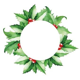Akwarela okrągła ramka świąteczna z zielonymi liśćmi ostrokrzewu i czerwonymi jagodami