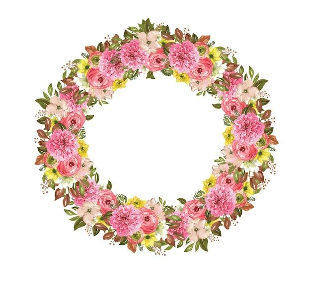 Akwarela okrągły wieniec z jesiennymi kwiatami ilustracja botaniczna