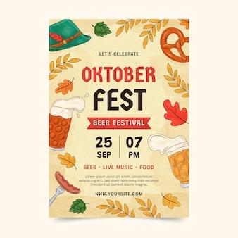 Akwarela oktoberfest pionowy szablon ulotki