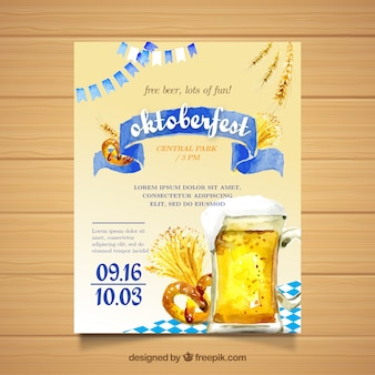 Akwarela oktoberfest tradycyjny plakat