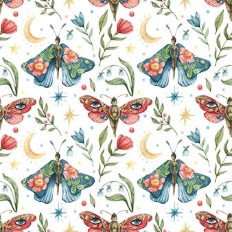 Akwarela okultystyczny wzór. ilustracja motyle-dziewczynki, kwiaty, gałęzie, liście, jagody, księżyc, gwiazdy nocne