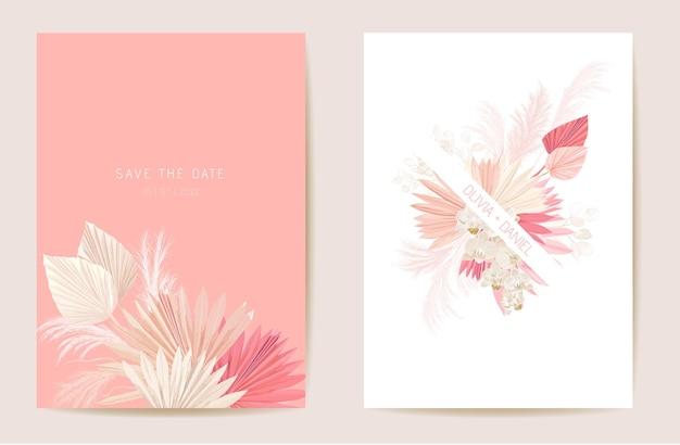 Akwarela orchidea, trawa pampasowa, karta kwiatowy ślub księżyca. wektor egzotyczny kwiat, tropikalna palma pozostawia zaproszenie. rama szablon boho. botanical save the date okładka z liści, nowoczesny plakat