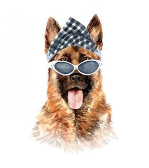 Akwarela owczarek niemiecki z okularami przeciwsłonecznymi i szalikiem w kratę.