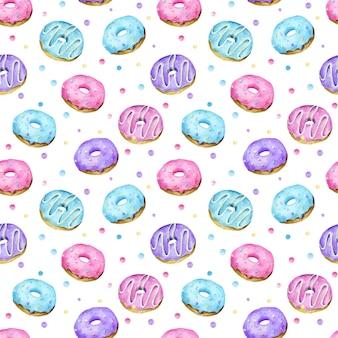 Akwarela pączek słodycze wzór różowy niebieski fioletowy