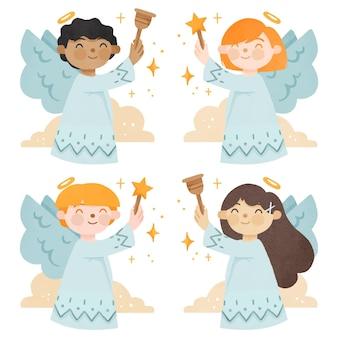 Akwarela paczka anioła bożego narodzenia