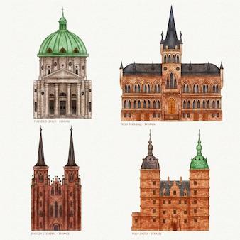 Akwarela pakiet słynnych zabytków architektury