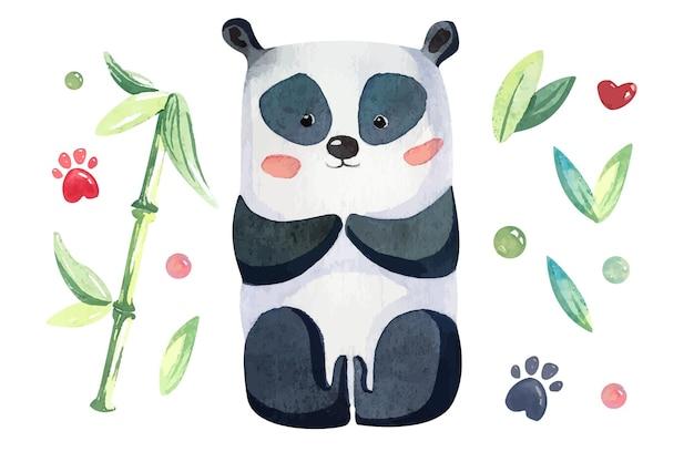 Akwarela panda z bambusem
