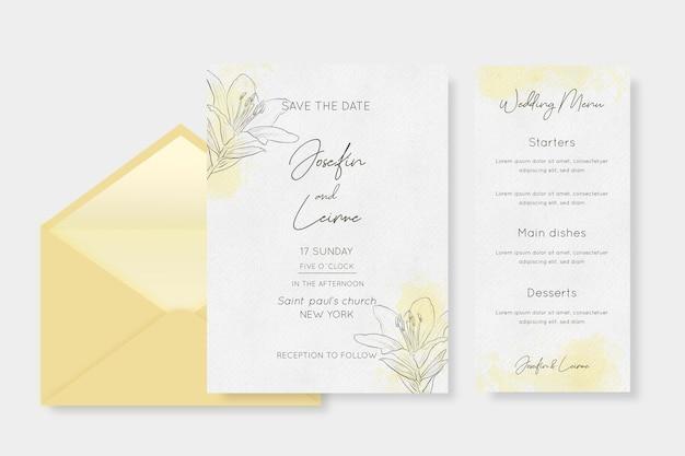 Akwarela papeterii ślubnej z kwiatami