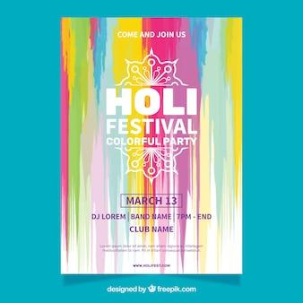 Akwarela party plakat na festiwalu holi