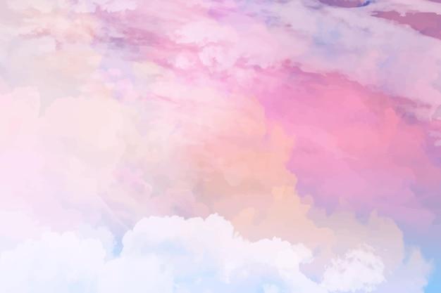 Akwarela pastelowe tło nieba