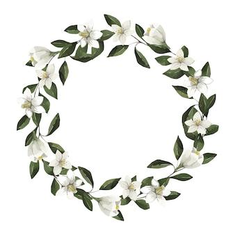 Akwarela piękna rama z białymi kwiatami i liśćmi