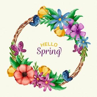 Akwarela piękna wiosna kwiatowy rama
