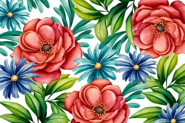 Akwarela piękne kwiaty w tle