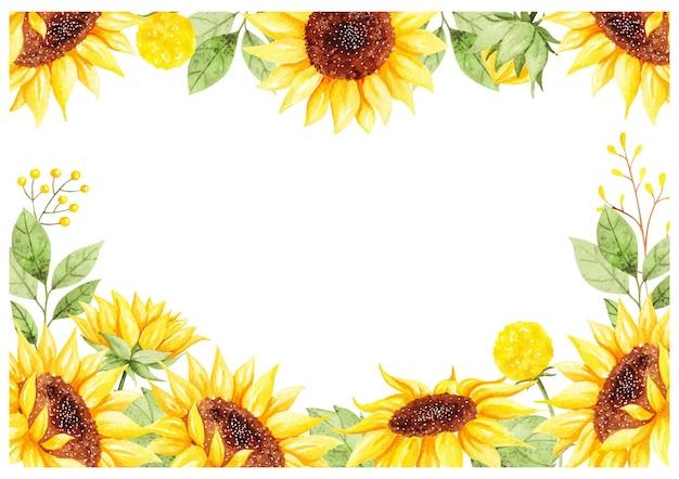 Akwarela piękne tło słonecznika