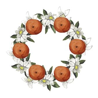 Akwarela piękny wieniec z pomarańczy i białych kwiatów