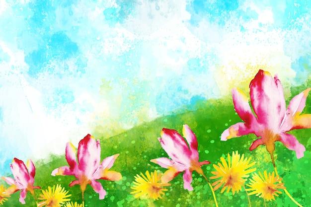 Akwarela piękny wiosenny krajobraz