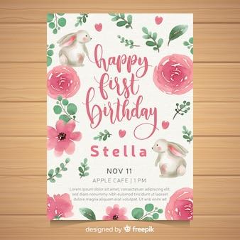 Akwarela pierwsza kartka urodzinowa party zaproszenie